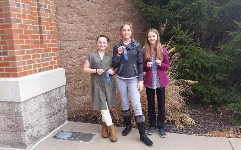 Isabella, Allie and Meredith all earned blue ribbons for their performances.Congratulations!