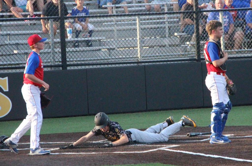 Braden Carey scores the tying run in the fifth inning